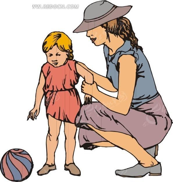 和小孩玩儿球的妈妈
