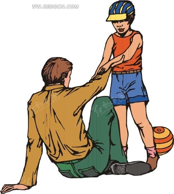 和小孩玩儿球的爸爸
