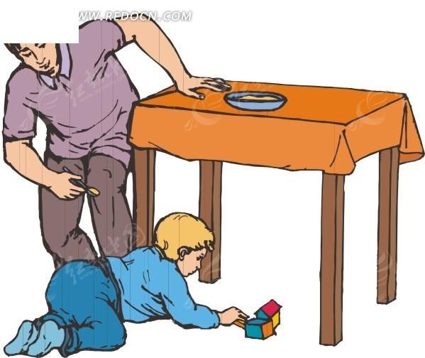 儿童吃饭卡通画