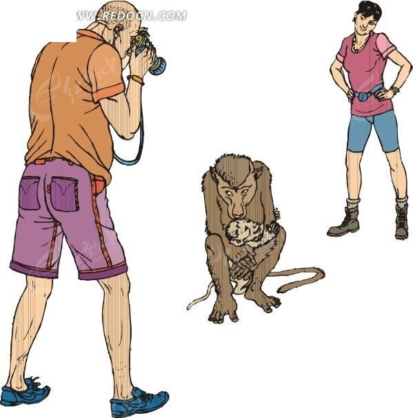 给猴子拍照的卡通人物