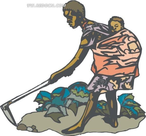 农夫锄地的简笔画_背着小孩锄地的男人矢量图