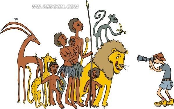 手绘和动物在一起的非洲人