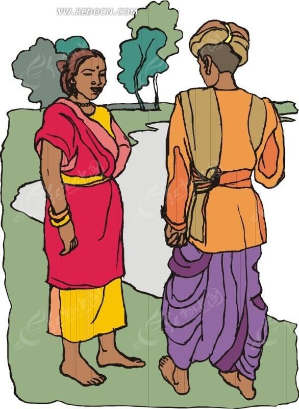 傣族小姑娘卡通图片