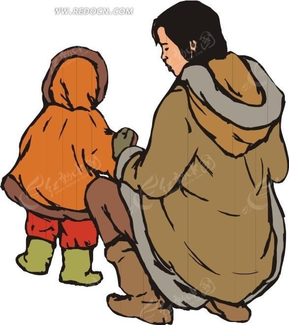 母亲和小孩的背影