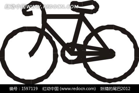 手绘黑色自行车图片