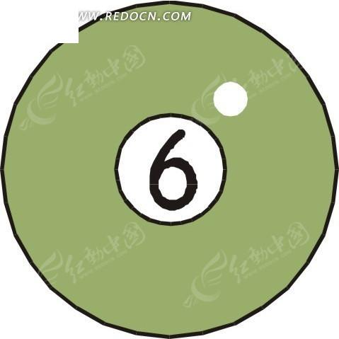 手绘六号桌球图片