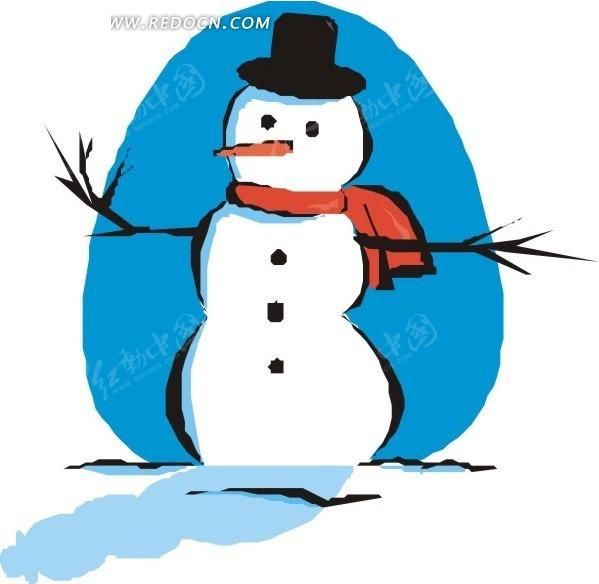 手绘雪人图片