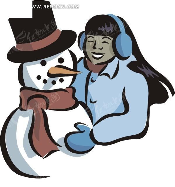 手绘卡通冬天场景