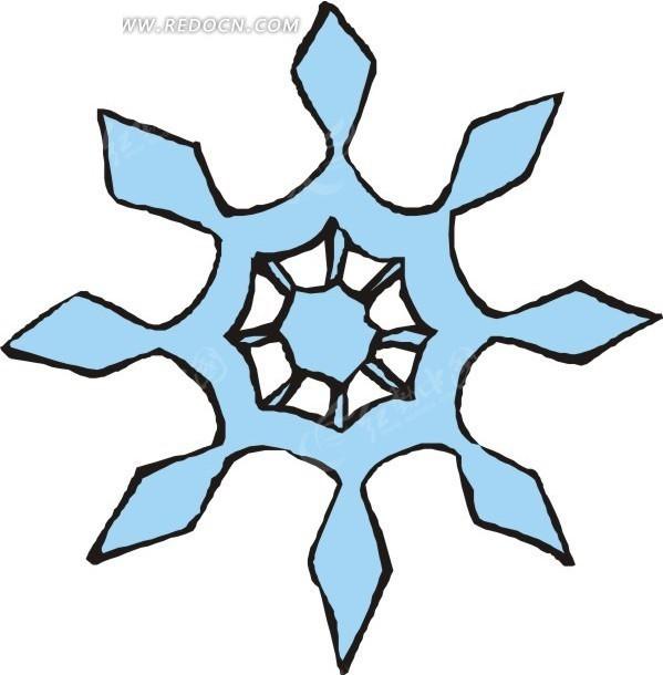手绘蓝色的小雪花
