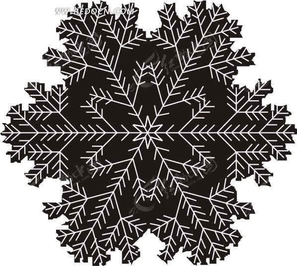 手绘黑色雪花图案