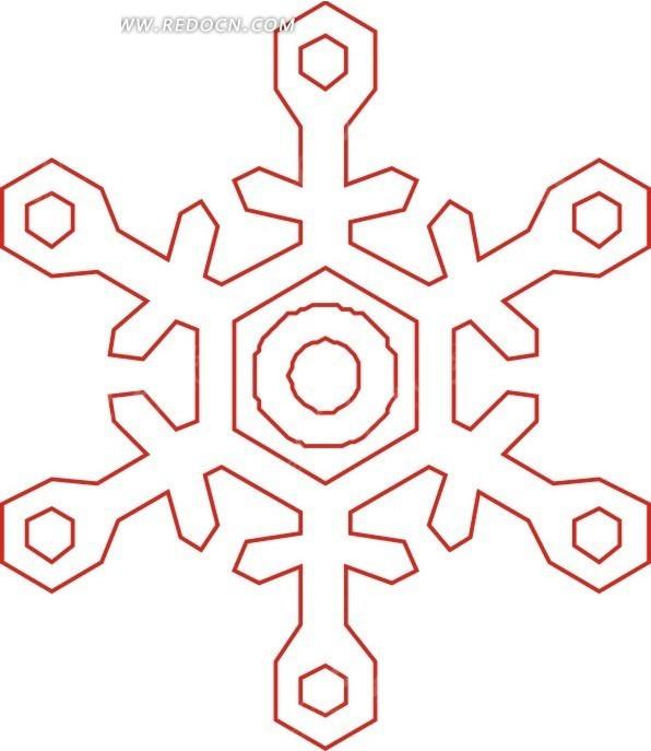 手绘橙色线描雪花图案