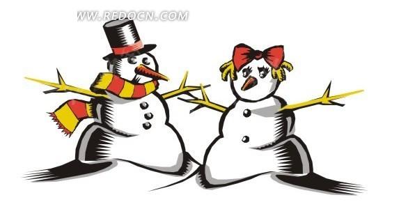 手绘两个雪人矢量图_生活用品