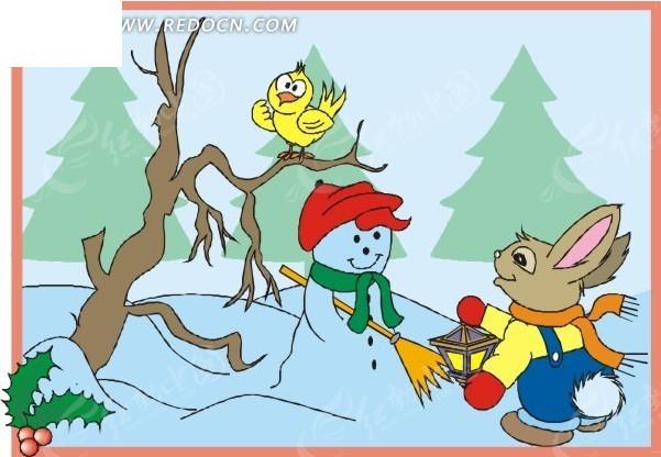 卡通雪人圣诞贺卡 卡通雪人图案生日贺卡