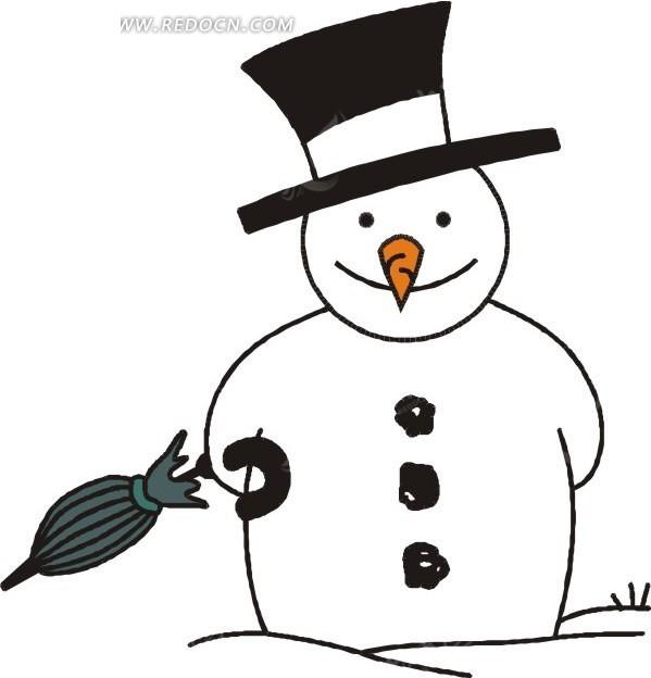 手绘拿着雨伞的雪人矢量图