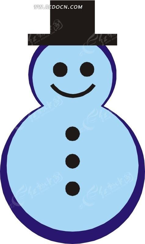 手绘戴帽子的蓝色雪人