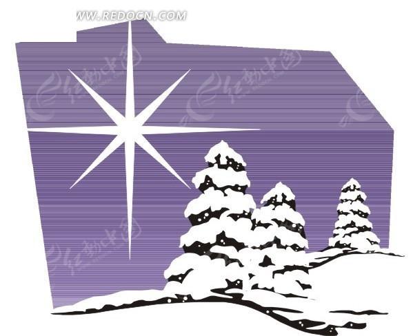 冬季冰雪覆盖的松树 生活用品矢量图下载 1590361