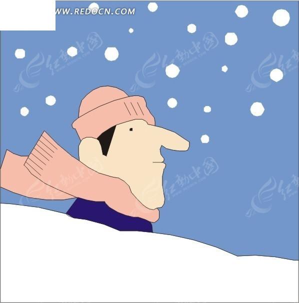 手绘飘落的雪花和人物头像