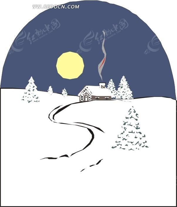 手绘插画雪地上飘起炊烟的小屋