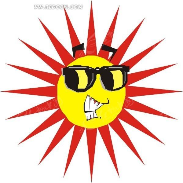 戴墨镜的太阳矢量图_生活用品