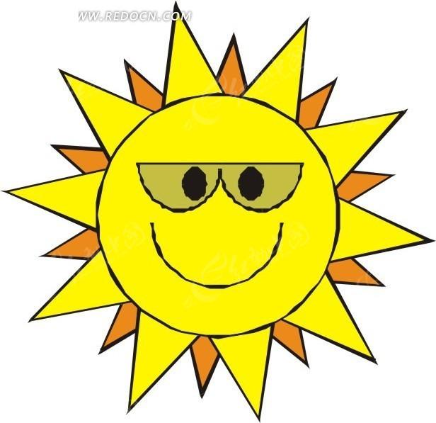 戴墨镜的黄色太阳矢量图