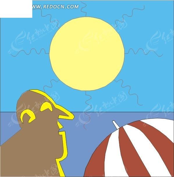 卡通太阳人物和太阳伞