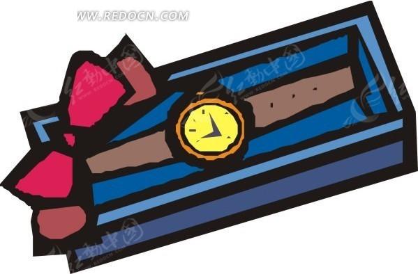 蓝盒子里的手表矢量图_生活用品