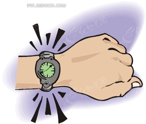 手腕  手表  手绘  插画  卡通画   生活百科 生活用品 矢量素材图片