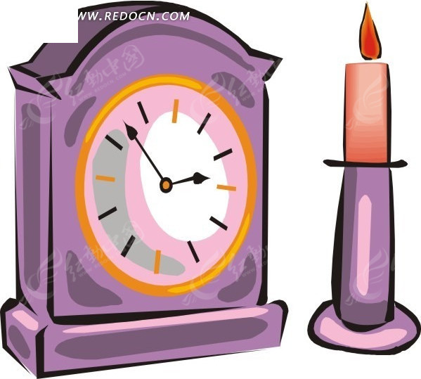 钟表  蜡烛台 手绘  插画  卡通画   生活百科 生活用品 矢量素材