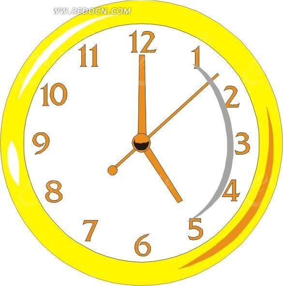 黄色时尚时钟矢量图_生活用品