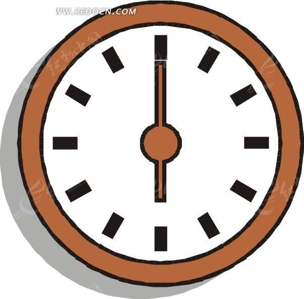 手绘钟表六点整