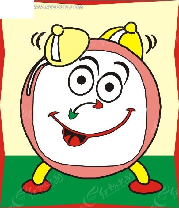 一个笑脸卡通闹钟矢量图