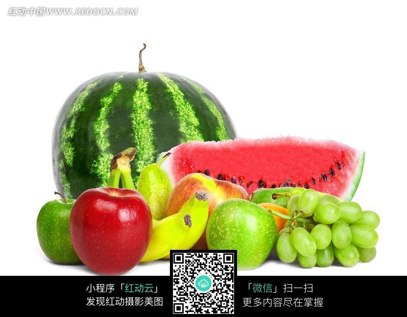 美味 红苹果 青苹果 红富士 香蕉 提子 西瓜 香梨 水果摄影 图片素材图片
