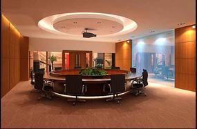 创意圆桌会议室设计效果图