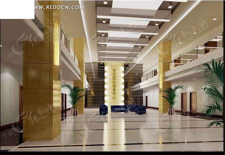 华贵典雅风格大堂装饰设计效果图
