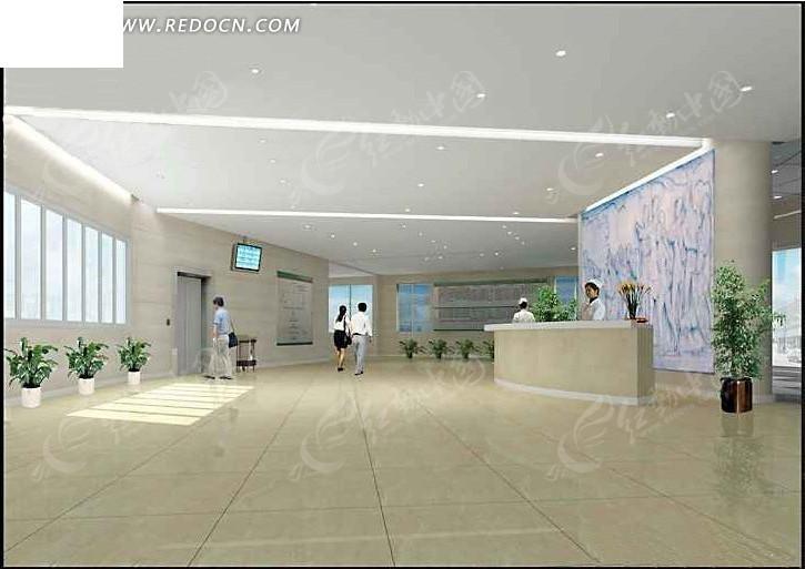 医院大厅设计3d效果图图片高清图片