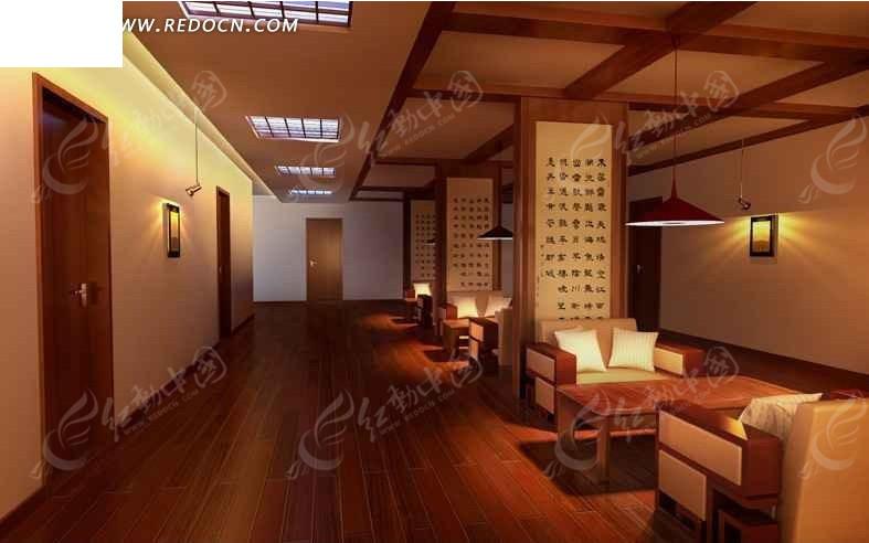 酒店休息处设计3d效果图