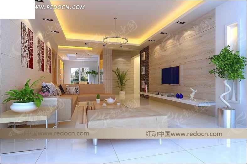 典雅小清新风格客厅设计效果图
