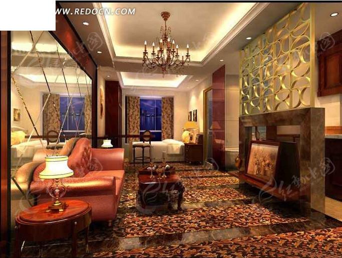 中式酒店套间装修效果图max_室内设计_红动手机版