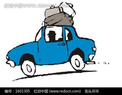 手绘蓝色小汽车