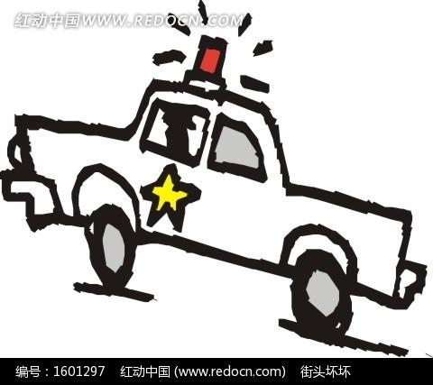 手绘卡通警车 可爱的卡通警车 卡通画—驾驶警车的男女 汽车总动员