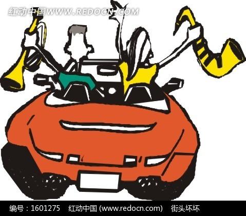 拿着乐器的卡通人物和汽车