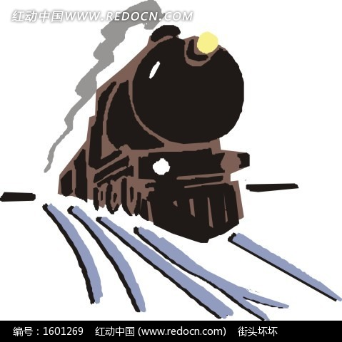 冒着黑烟的蒸汽机火车