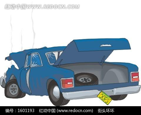 被撞烂的蓝色汽车插画矢量图 交通工具 -被撞烂的蓝色汽车插画高清图片