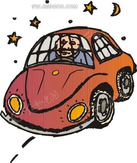 手绘开车赛车的人 插画—开车的人抱新娘的 插画—站着的人开汽车的