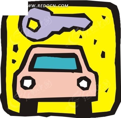 方形里的一部粉红色小汽车与钥匙矢量图高清图片