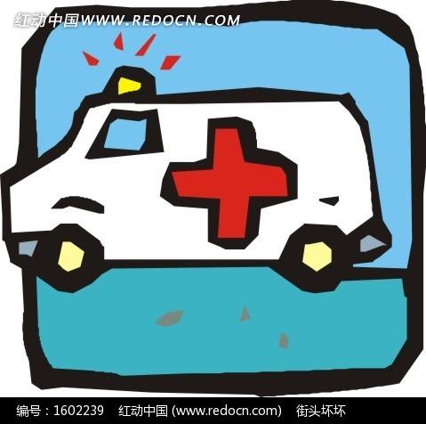 手绘救护车矢量图_交通工具