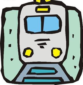 手绘青色背景上铁轨上的火车头