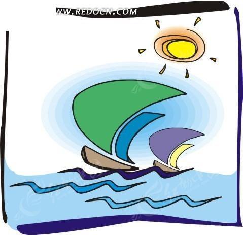 手绘帆船和太阳