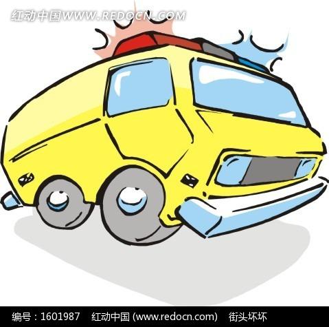 一部黄色救护车矢量图