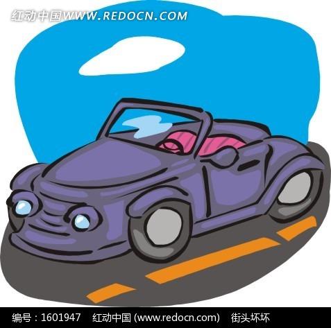 手绘公路上的紫色敞篷车